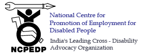 Logo of NCPEDP - National Centre for Promotion of Employment for Disabled People, India's Leading Cross - Disability Advocacy Organization.
