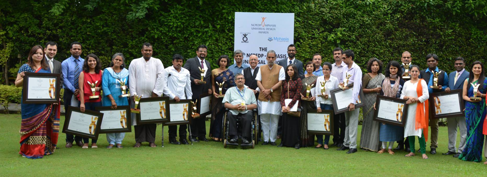 Group Photo of the 7th NCPEDP-Mphasis Universal Design Awardees with dignitaries on 14th August, 2016.
