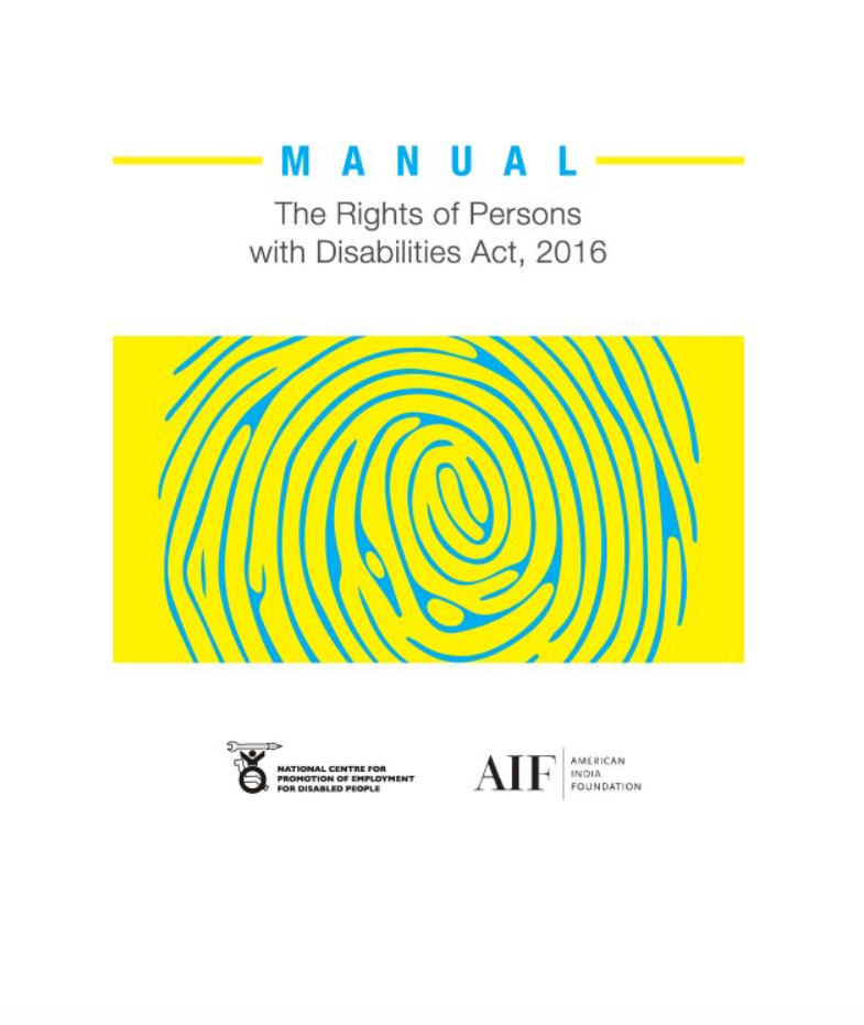 Cover page of AIF Manual on the RPWD Act, 2016
