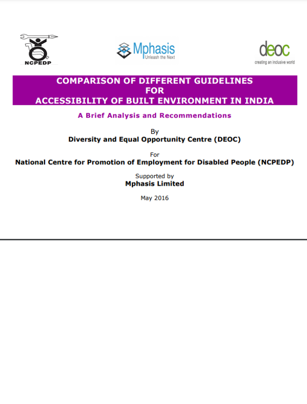 Cover page of Comparison of Accessibility Standards for the Built Environment