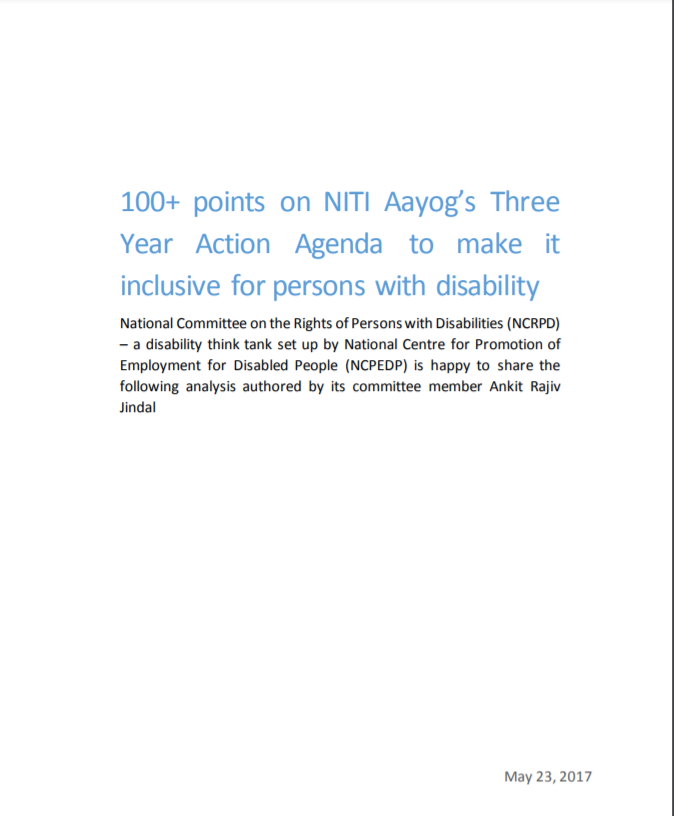 cover page of Disability Inclusion in NITI AAYOG'S three year action agenda