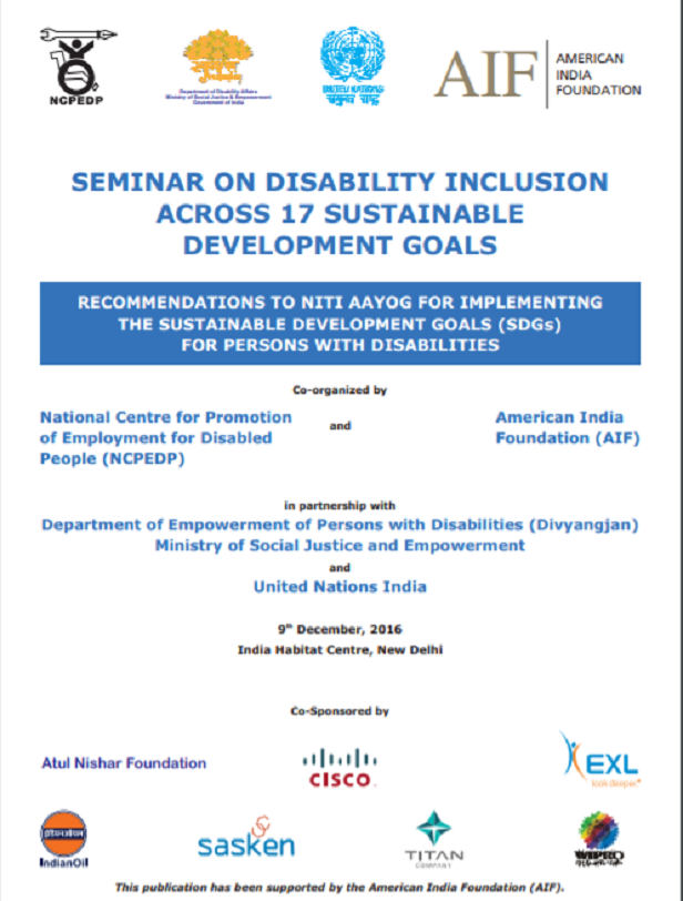 cover page of seminar on Disability Inclusion across 17 Sustainable Development Goals