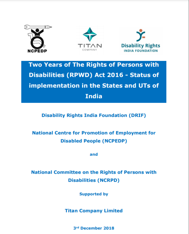 Cover page of Status Report on Implementation of the RPWD Act 2016